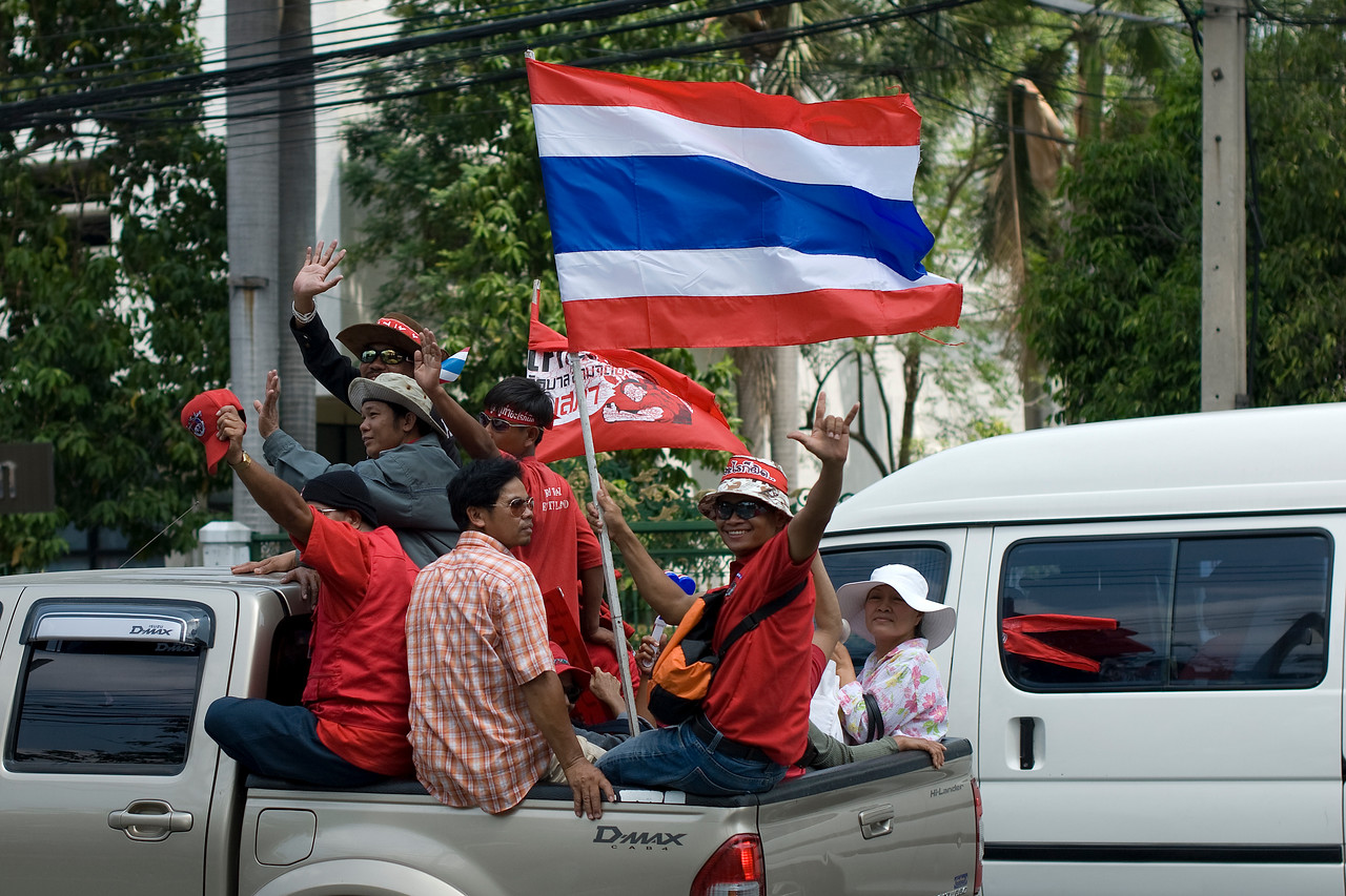 Thai national flag waved by protesters during the Red Shirt Protest