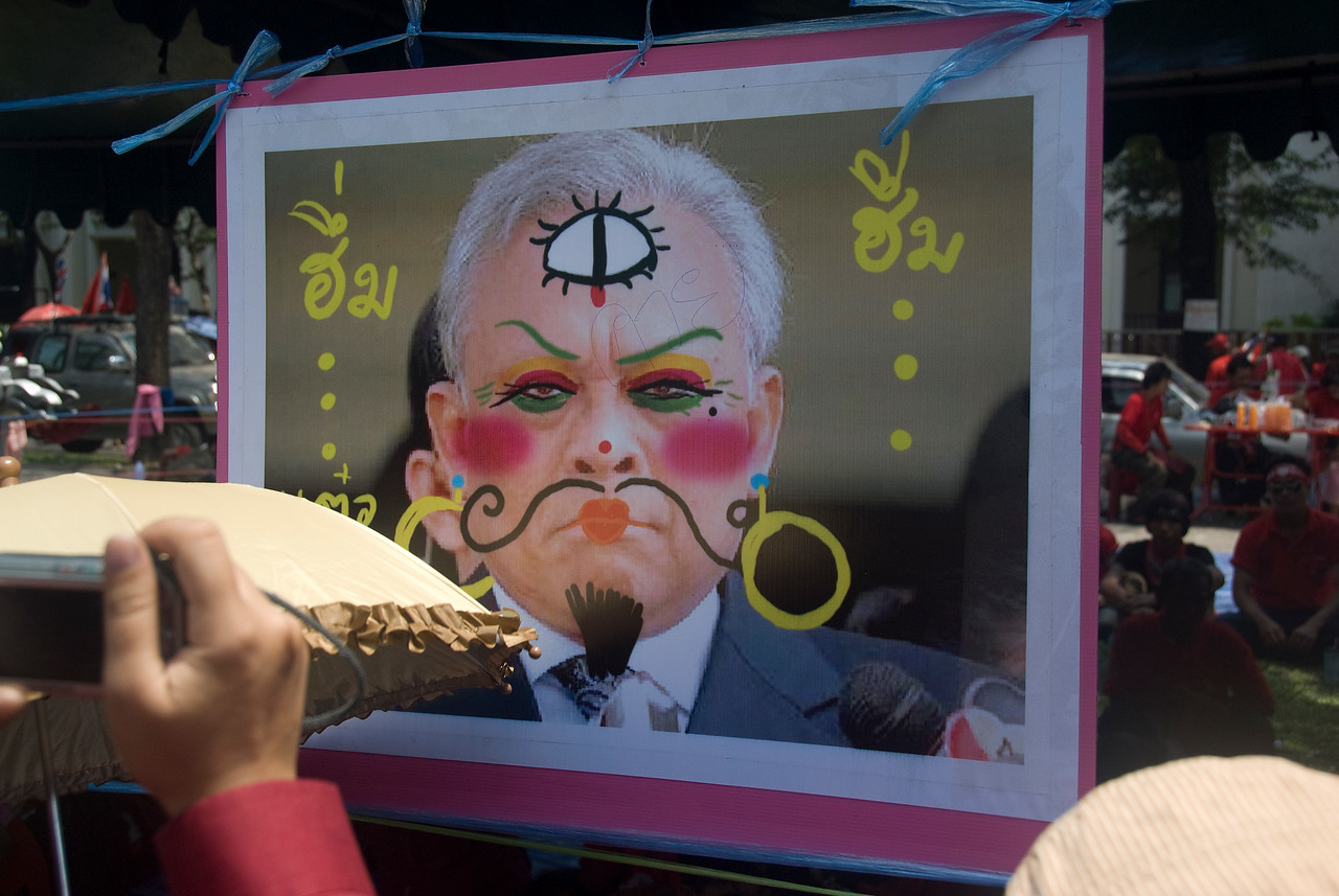 A close-up shot of caricatures made by Red Shirt protesters - Thailand