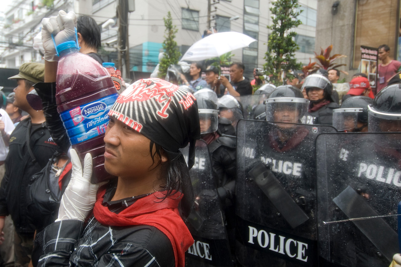 Protesters and police during the Red Shirt Protest in Thailand