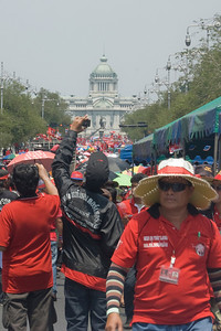 A crowd of protesters during the Red Shirt Protest in Thailand
