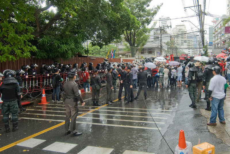 A shot of police and media during Red Shirt Protest