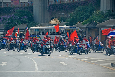 A patrol of motorcycle-riding protesters during the Red Shirt Protest in Thailand