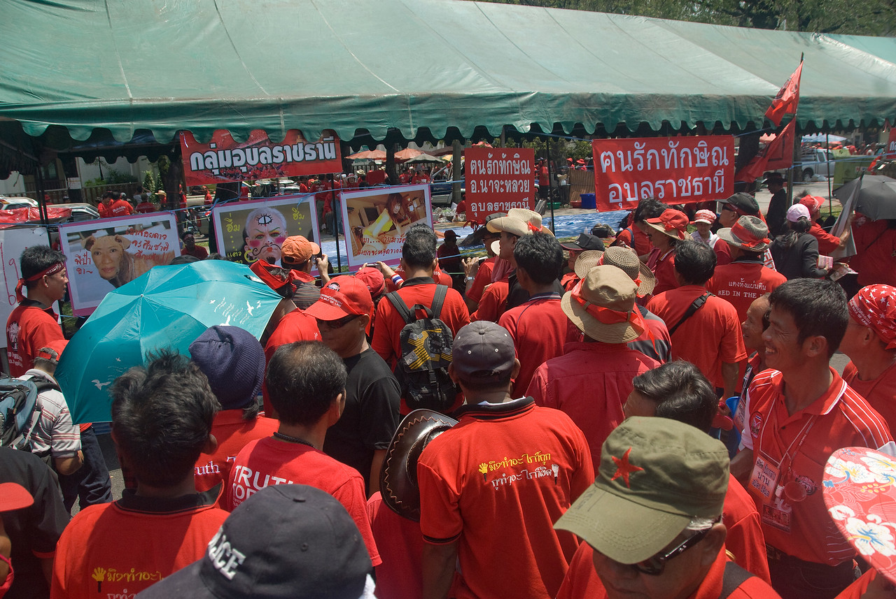 Shot of the crowd during the Red Shirt Protest in Thailand