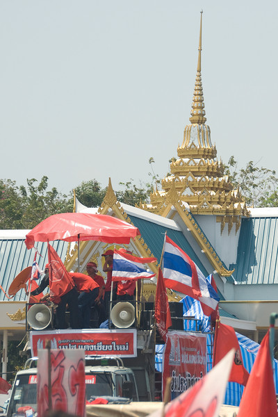 Shot of protesters during the Red Shirt Protest in Thailand