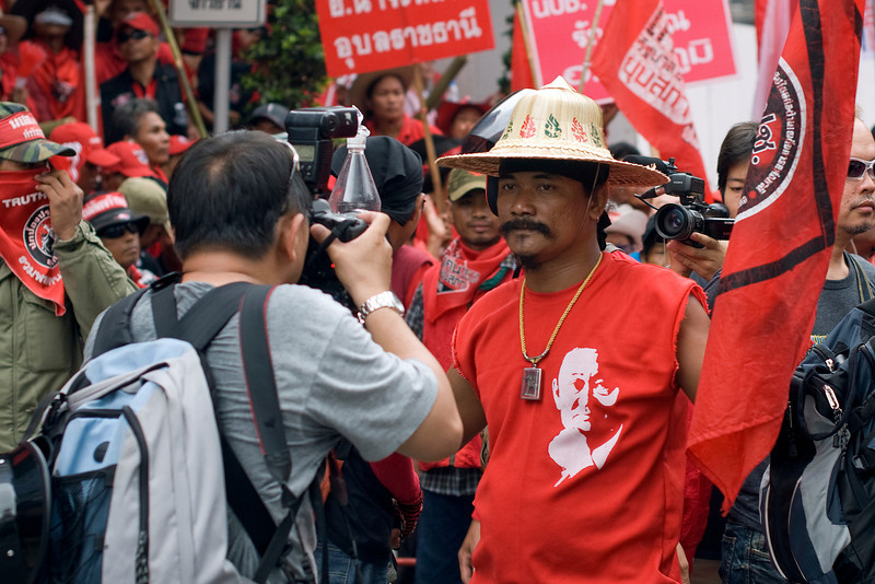 Photographer covering the Red Shirt Protest in Thailand