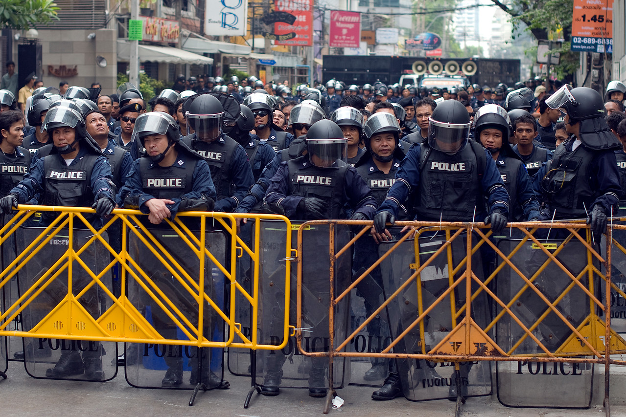 Closer shot of police force during Red Shirt Protest - Thailand
