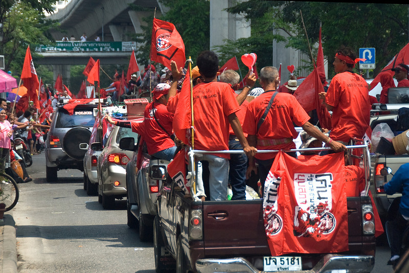 Convoy during Red Shirt Protest in Thailand