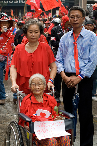 Woman on wheelchair joins Red Shirt Protest activity