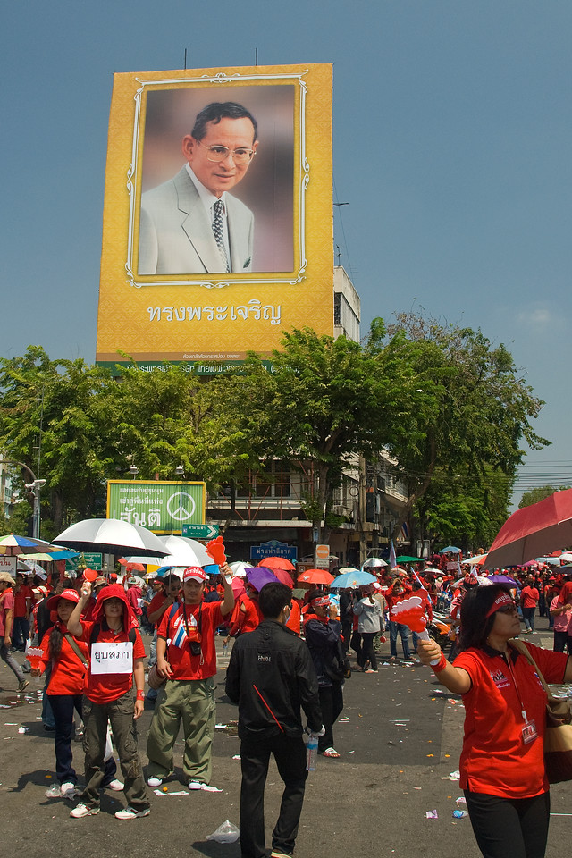 Huge photo of Thai official during Red Shirt Protest in Thailand