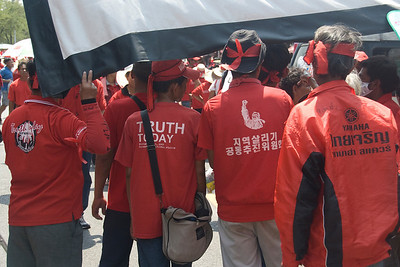 Protesters wearing red shirts during rally in Thailand