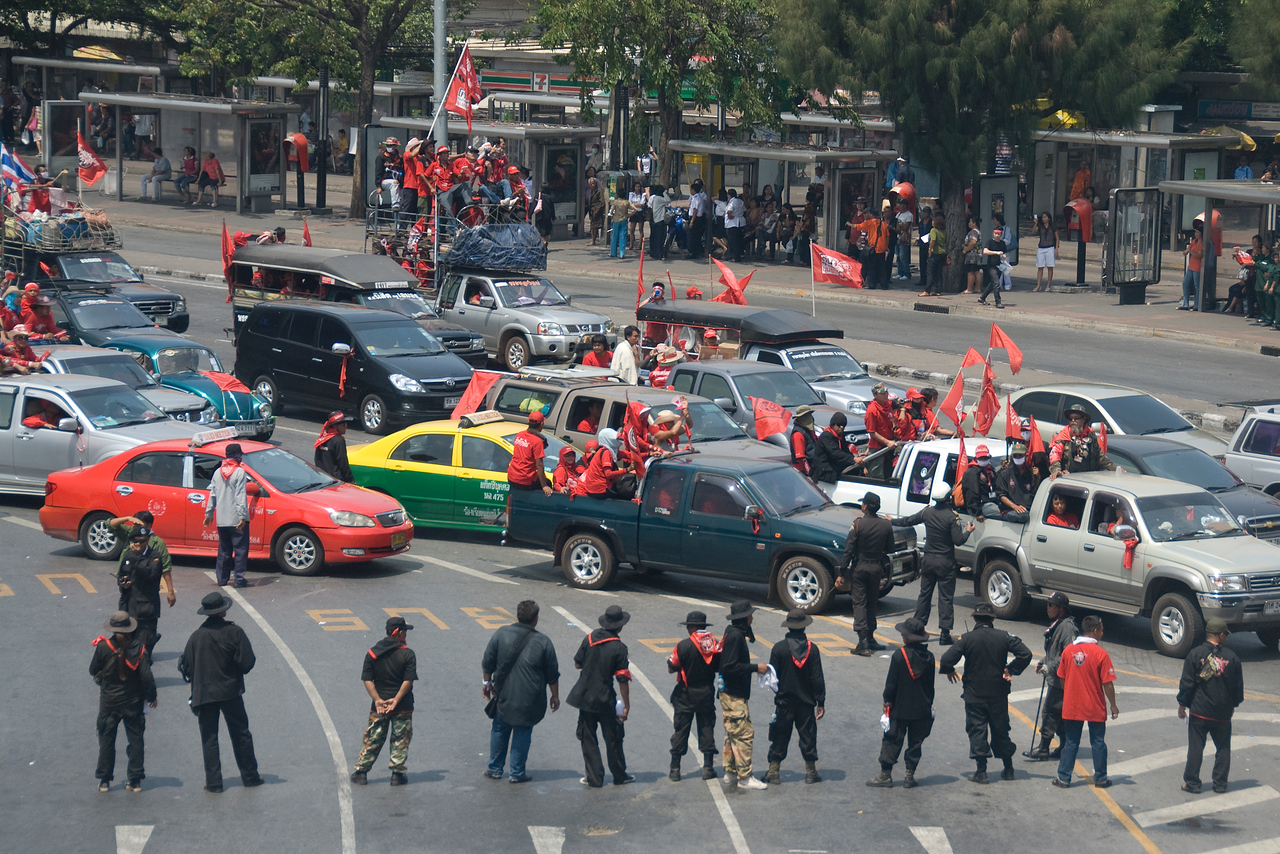 Several vehicles joining the Red Shirt Protest in Thailand