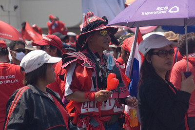 Members of the crowd at the Red Shirt Protest in Thailand
