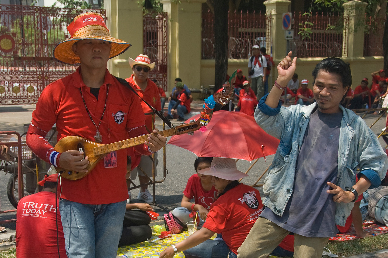 A small band playing during the Red Shirt Protest in Thailand