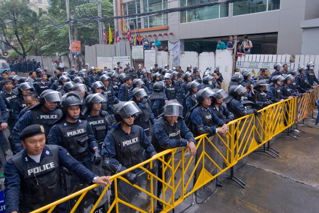 Shot of the riot police on full gear during the Red Shirt Protest