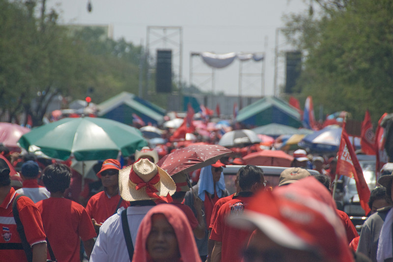 Never-ending sea of crowd during Red Shirt Protest - Thailand