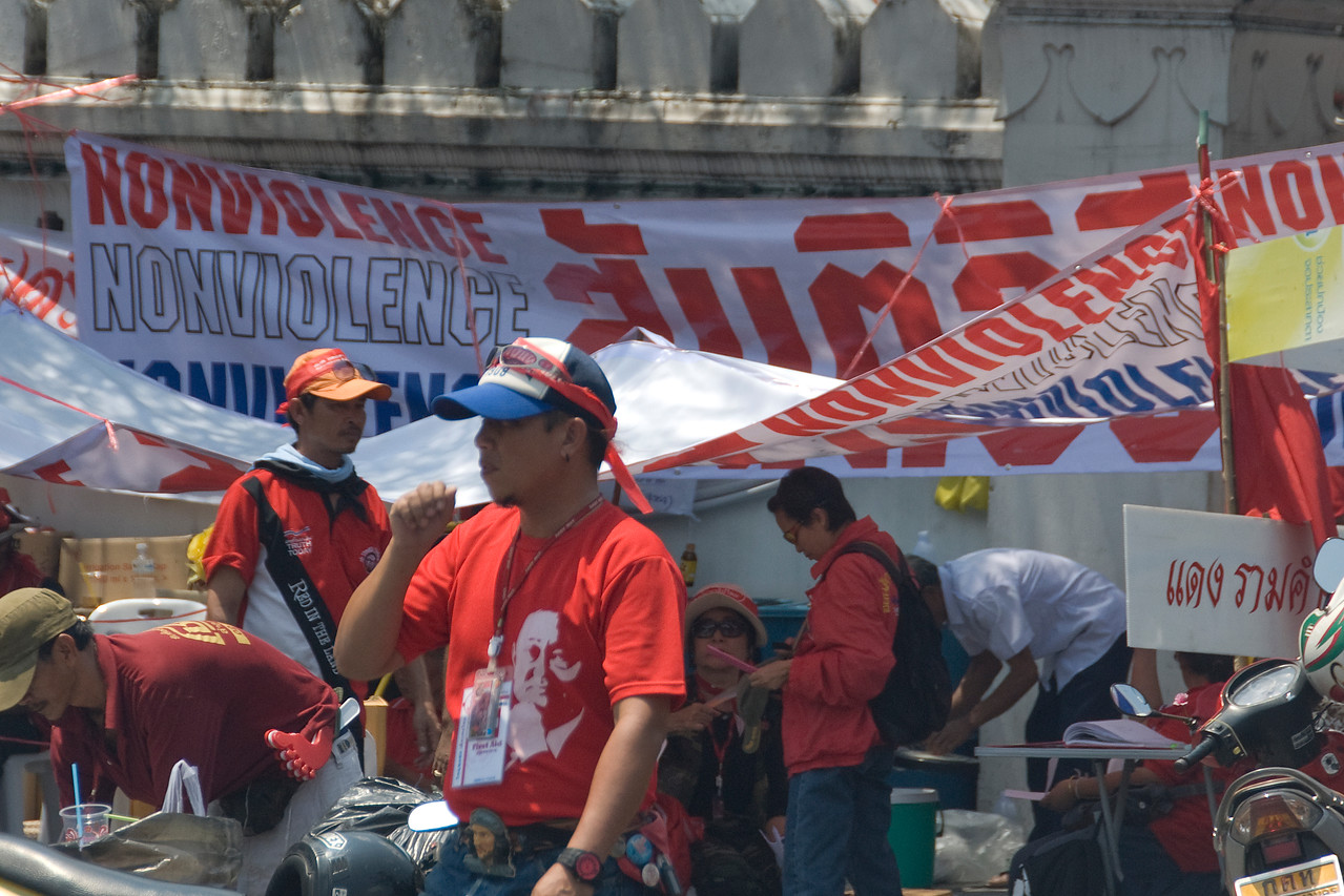 Large banners calling for non-violent protest during Red Shirt Protest - Thailand