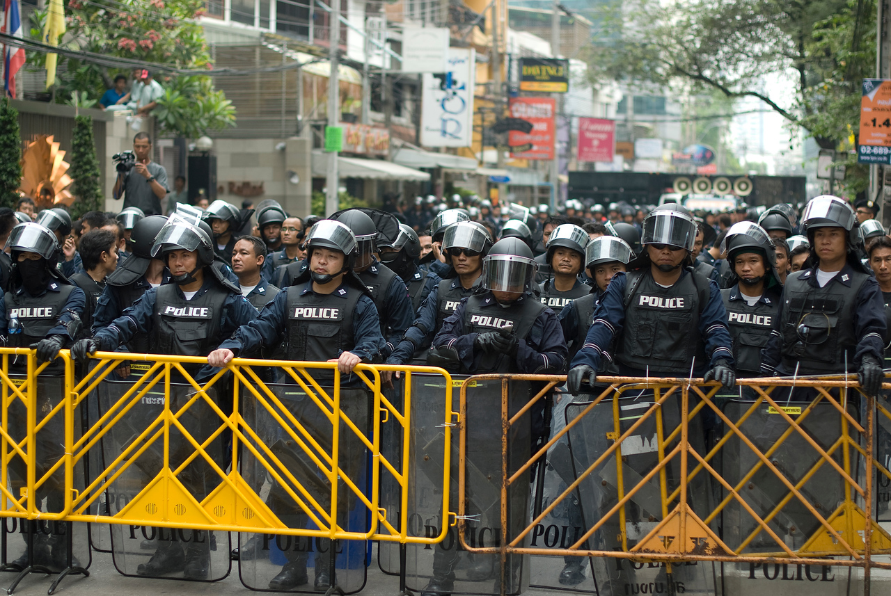Police forming their own barricade during the Red Shirt Protest - Thailand