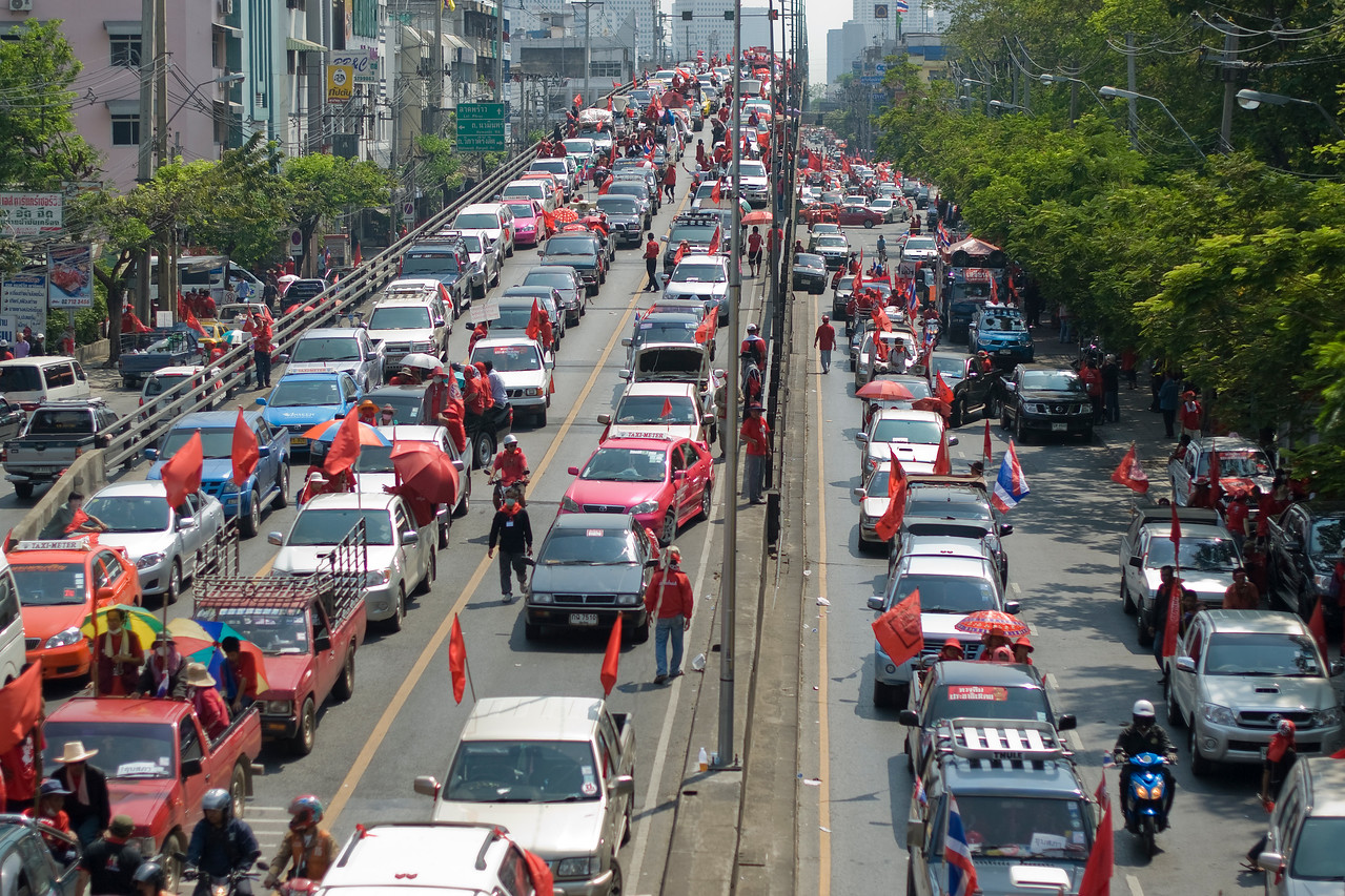 Heavy traffic during Red Shirt Protest in Thailand