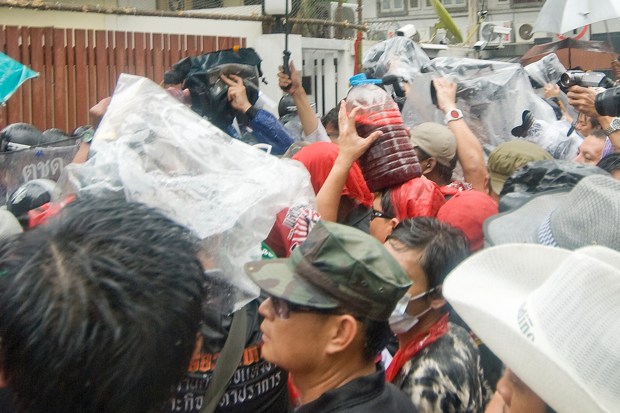 The media covering the Red Shirt Protest activity in Thailand