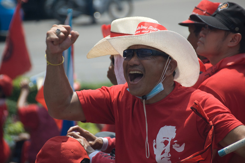 Close-up of a man during Red Shirt Protest in Thailand