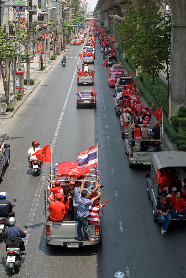 Thai main street filled with protesters during Red Shirt Protest - Thailand