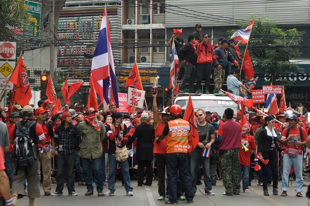 Protesters' barricade during Red Shirt Protest in Thailand