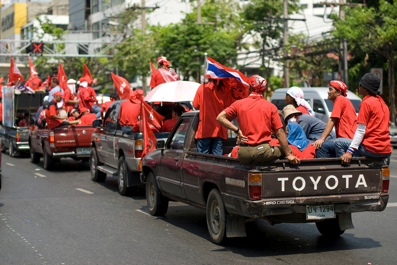 Convoy of loaded pick-up trucks during Red Shirt Protest - Thailand