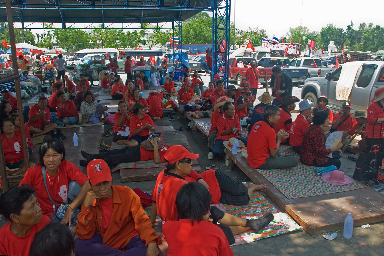 Protesters resting during Red Shirt Protest in Thailand