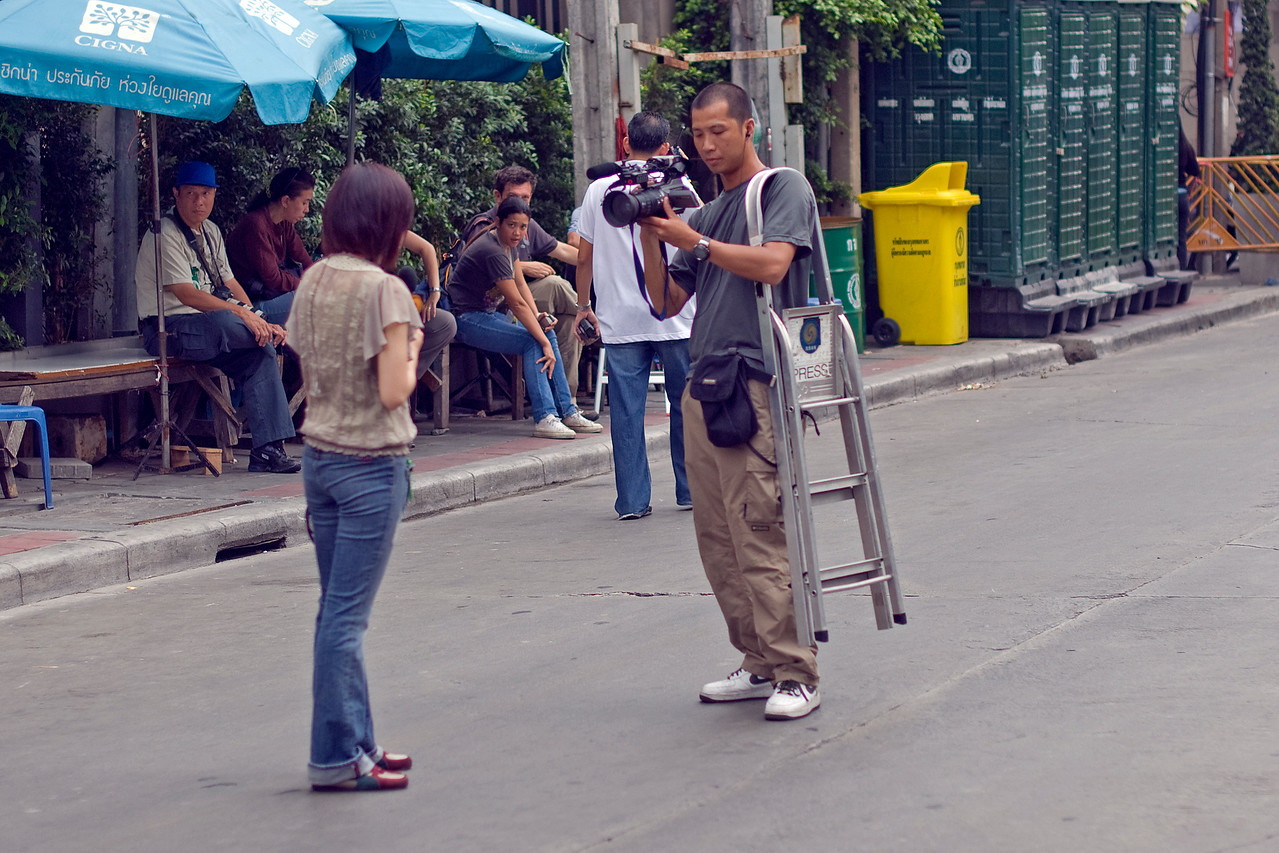 Local media covering the events of Red Shirt Protest in Thailand