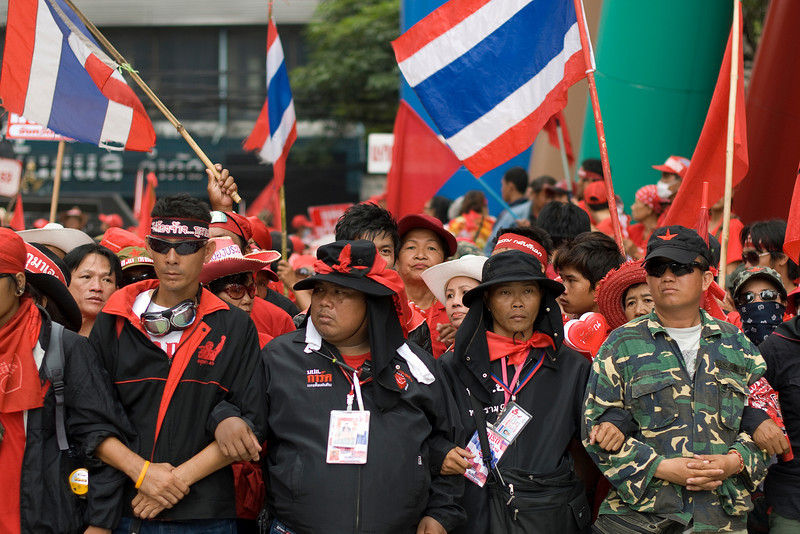 Uniformed men joining the barricade during Red Shirt Protest - Thailand