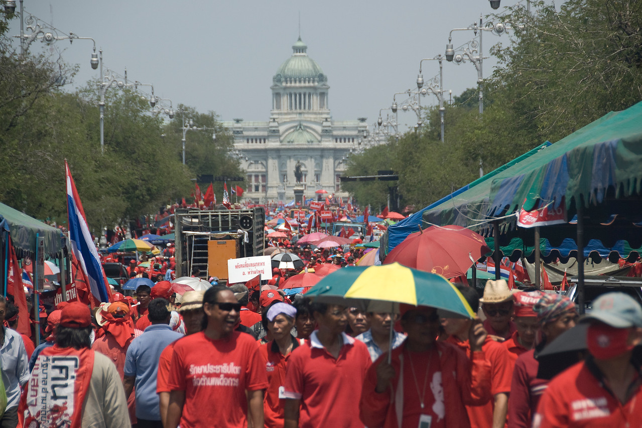 A crowd of protesters at the Red Shirt Protest in Thailand