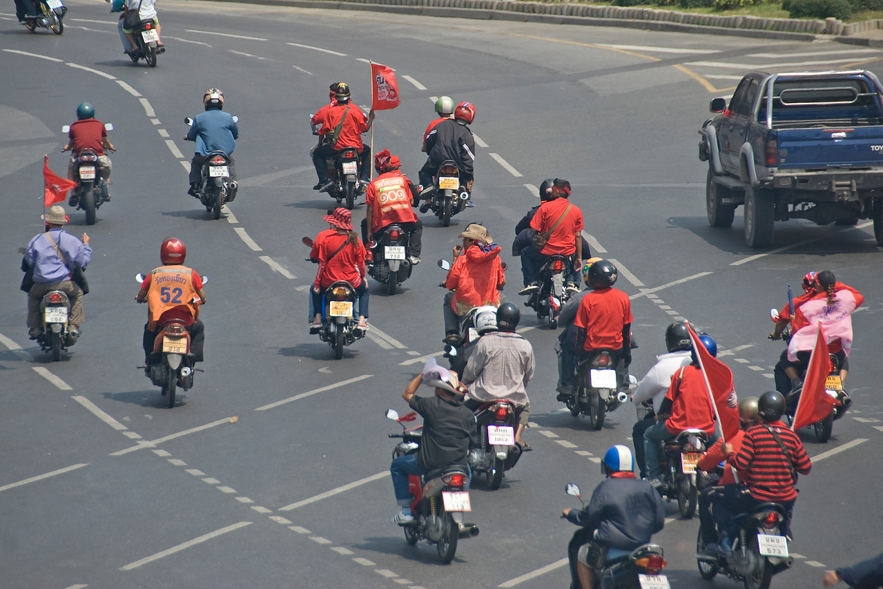 Motorcycle riding protesters during the Red Shirt Protest in Thailand