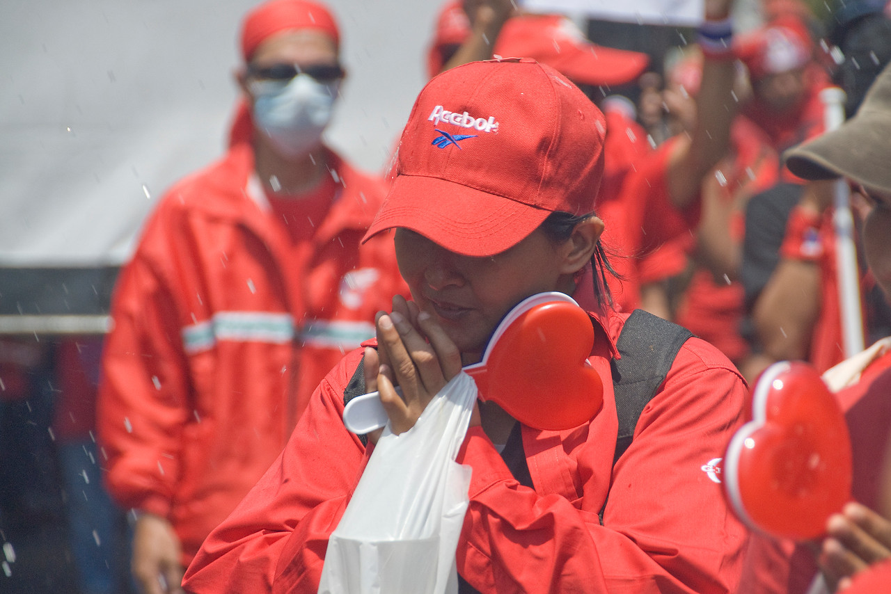 A close-up of a female protester during Red Shirt Protest in Thailand