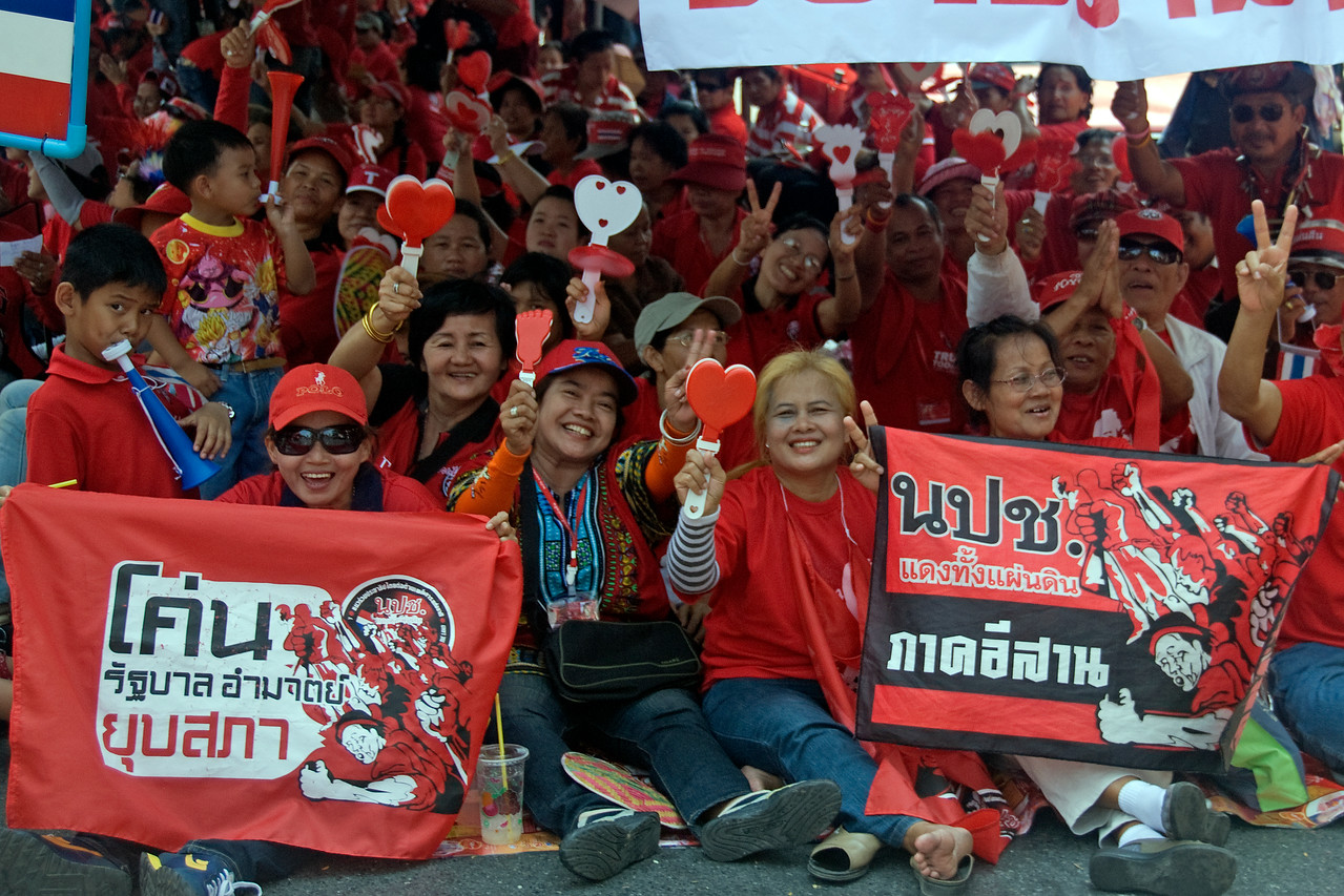 Women joining the Red Shirt Protest in Thailand
