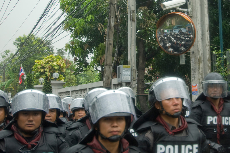 Riot police preparing against protesters in Thailand