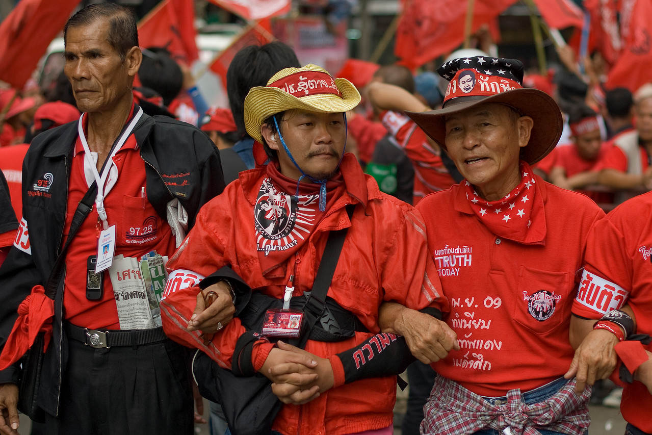 Protesters forming human barricade during Red Shirt Protest in Thailand