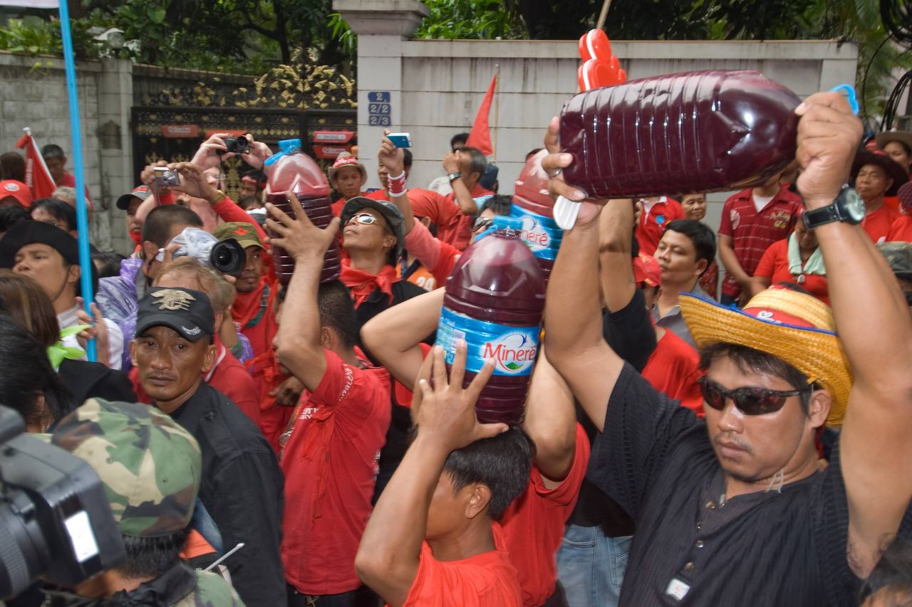 Shot of the protesters during the Red Shirt Protest in Thailand