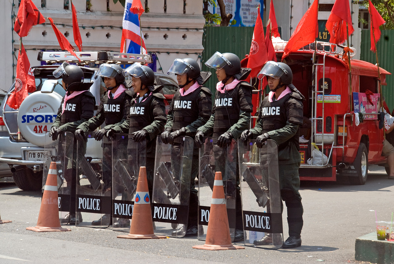Riot police on full gear during Red Shirt Protest - Thailand