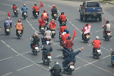Another shot of motorcycle riding protesters in Thailand