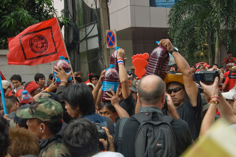 Protesters flocked around close to each other during Red Shirt Protest