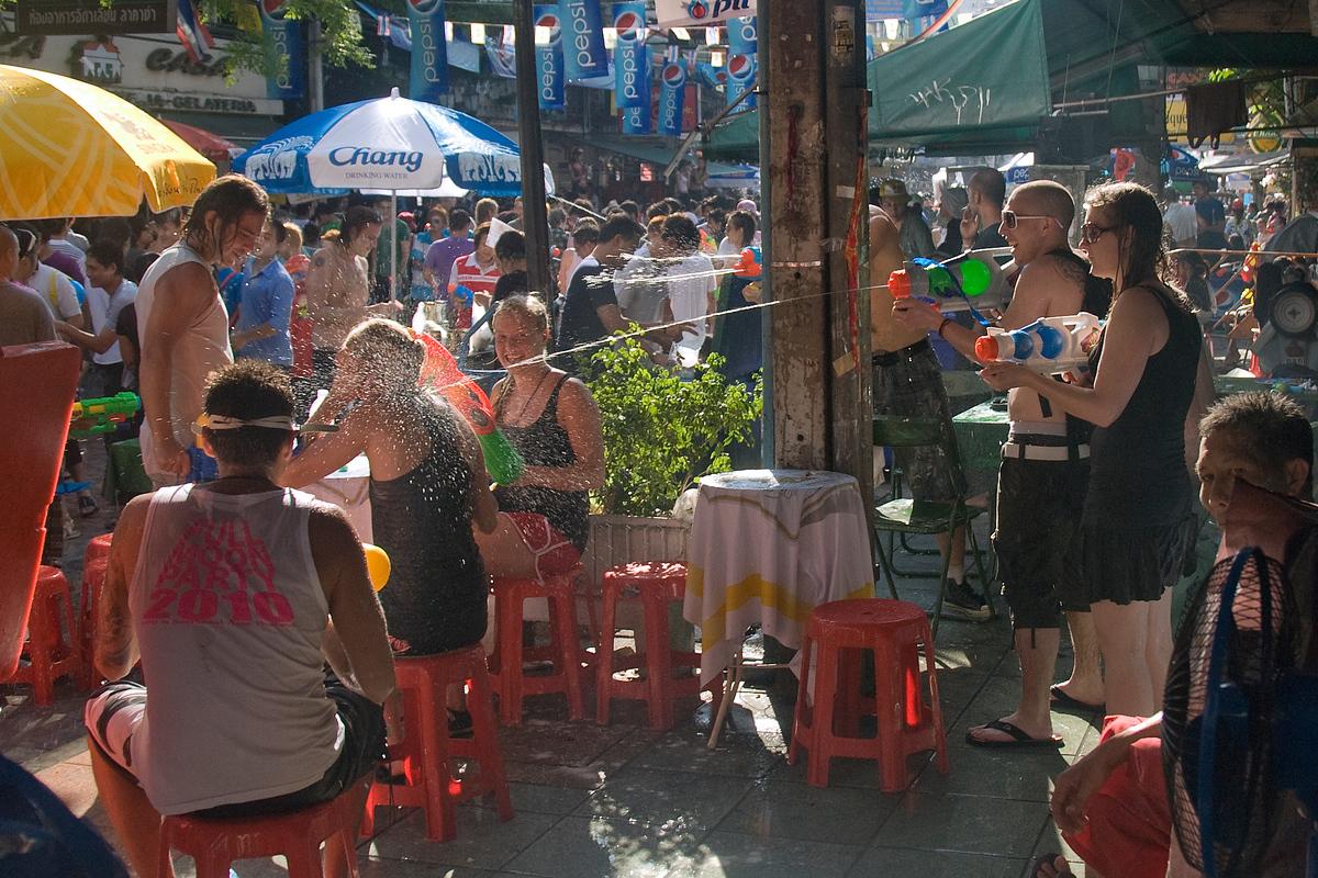 Water fight during Songkran, Bangkok, Thailand