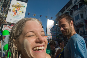 Sean and Jodi having Songkran fun on Khao San Road