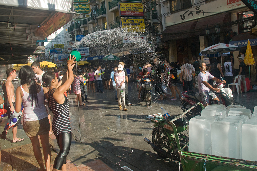 Water fun during Songkran in Bangkok, Thailand