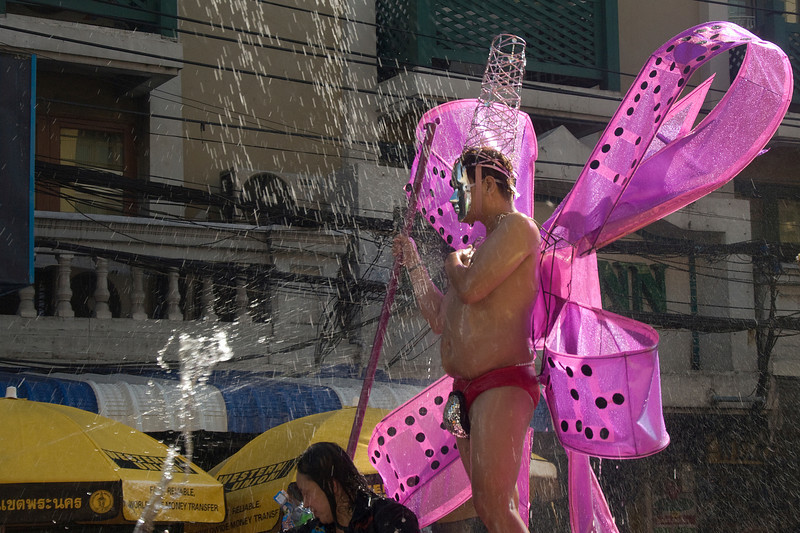 Man wearing funny costume during the 2010 Songkran Festival