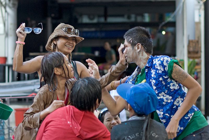 Locals having fun at the 2010 Songkran Festival celebration