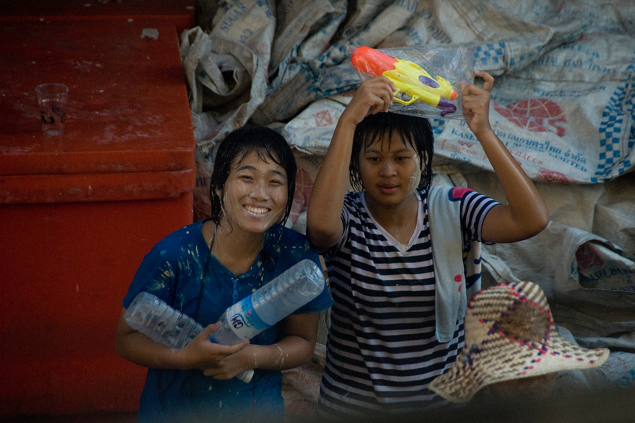 Female locals enjoying the 2010 Songkran Festival