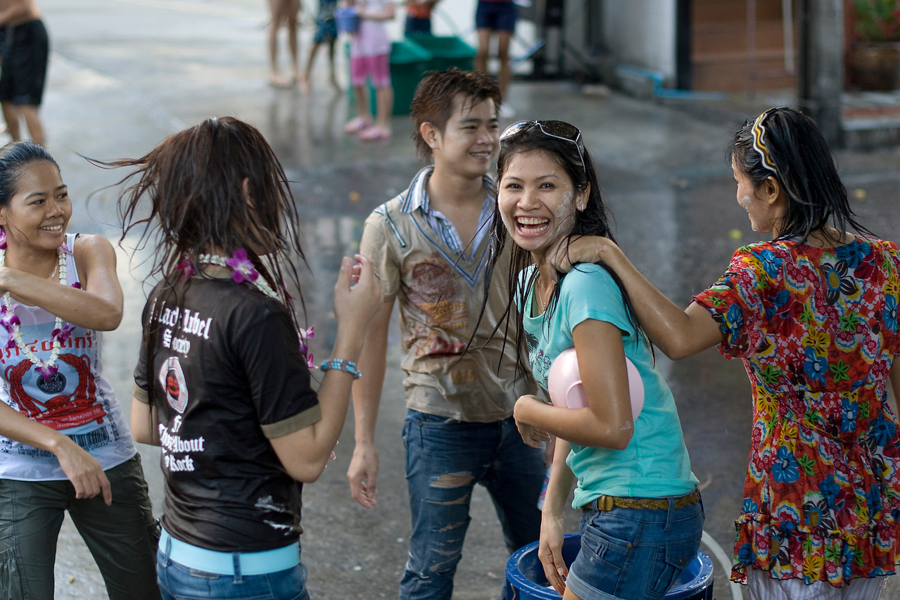 Locals having fun at the 2010 Songkran Festival in Thailand