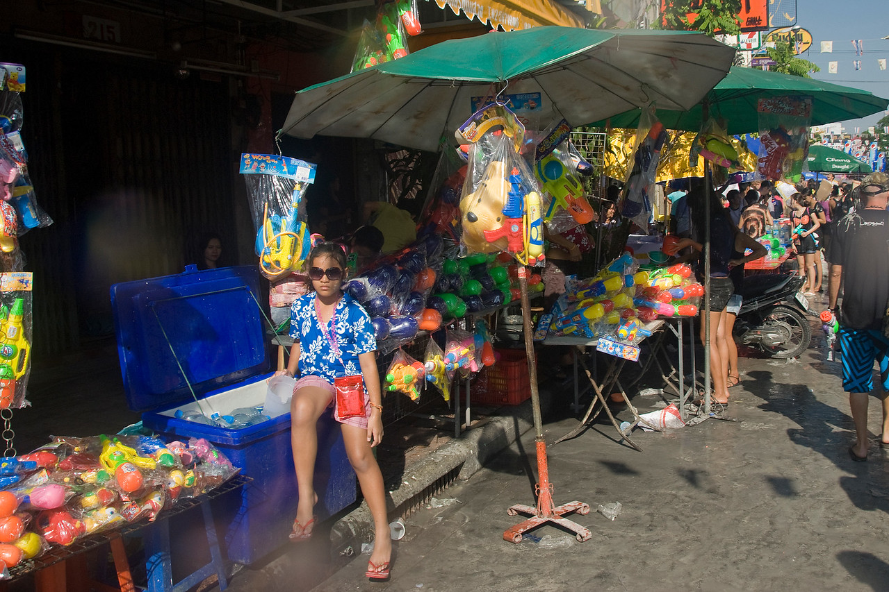 Vendor stalls during Songkra Festival in Thailand