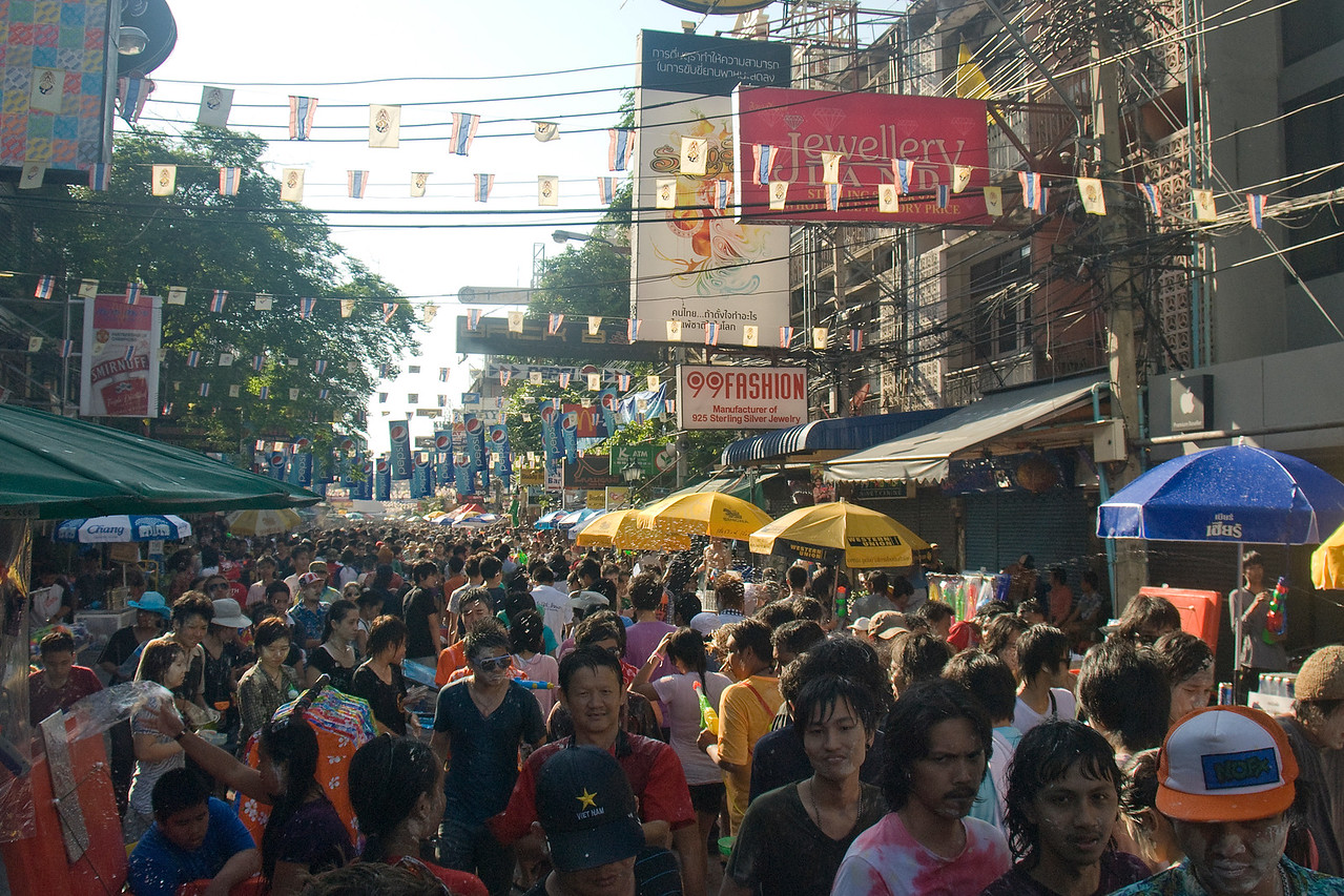 Thick throng of crowd participating in the 2010 Songkran Festival