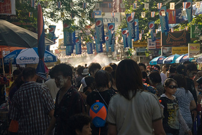 Closer shot of the crowd at the 2010 Songkran Festival